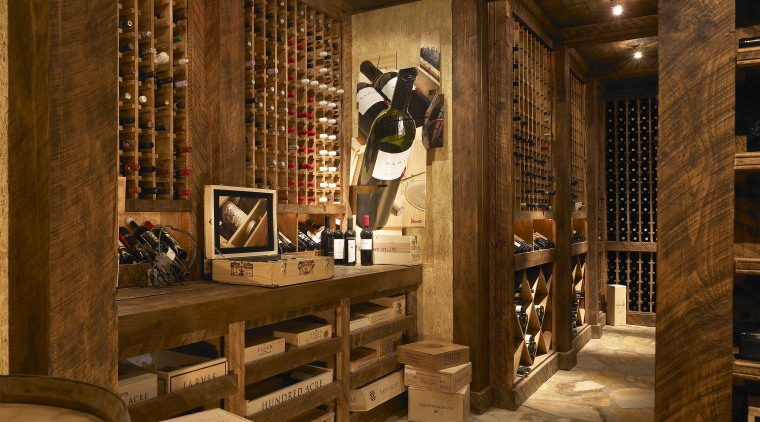 A wine Cellar view Features Floor-to-ceiling natural wood interior design, wine cellar, winery, brown