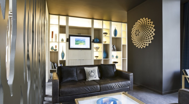 View of a lounge area at the NZ ceiling, interior design, living room, room, suite, black, brown