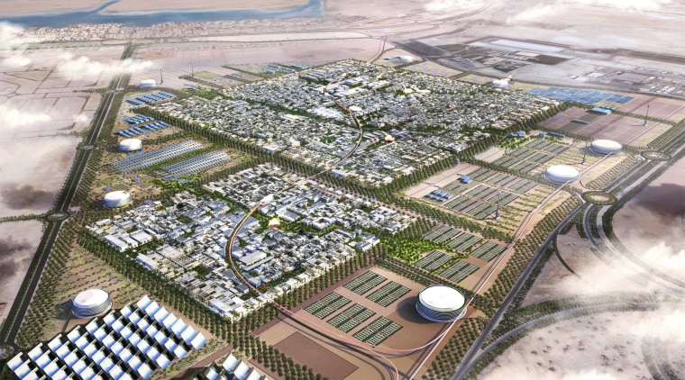 Conceptual aerial view of Masdar City in Abu aerial photography, artificial island, bird's eye view, photography, sky, urban design, water, water resources, gray, white