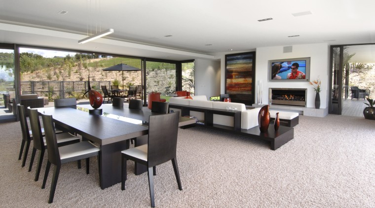 Interior view of the open-plan living and dining flooring, interior design, living room, property, real estate, table, white