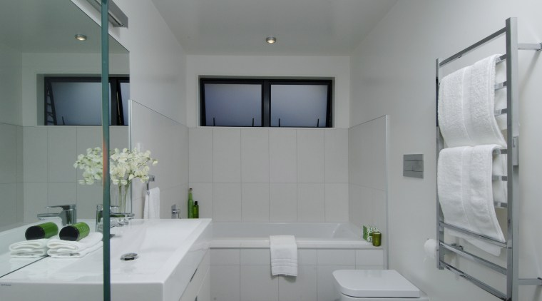 View of the bathroom with white wall tiling, architecture, bathroom, daylighting, home, interior design, product design, room, sink, gray