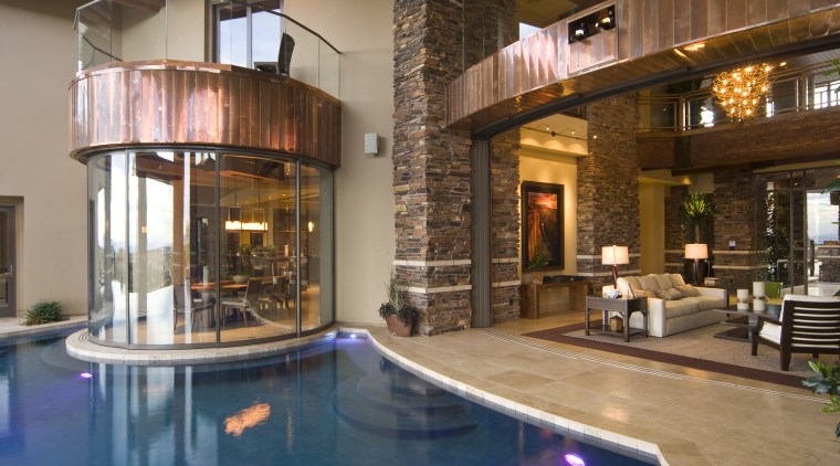 Interior view of the pool area with tiling, estate, home, interior design, lobby, property, real estate, swimming pool, brown