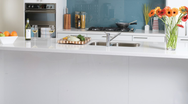 view of a kitchen which features hidden macerating countertop, interior design, kitchen, white