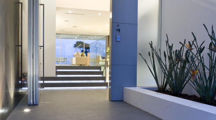Exterior view of the front entrance with large architecture, floor, interior design, real estate, gray, blue, white