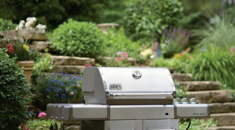 View of a Weber barbeque available from Supreme backyard, furniture, garden, grass, outdoor grill, plant, tree, yard, brown, green, gray