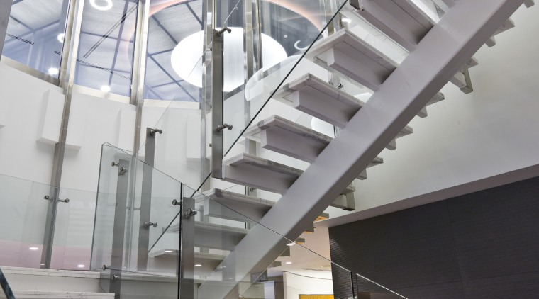 View of stairway with glass balustrade and stainless architecture, daylighting, glass, handrail, stairs, structure, gray