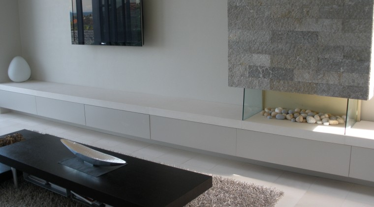 View of gray block wall cladding from Sareen coffee table, floor, flooring, furniture, interior design, living room, product design, shelf, sideboard, table, wall, gray