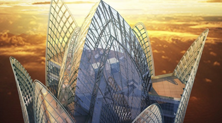 Conceptual view of the exterior of the Burj architecture, building, daytime, landmark, morning, reflection, sky, skyscraper, sunlight, black
