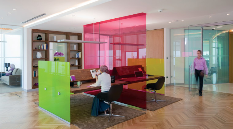 The new Zain headquarters in Bahrain reflects the interior design, lobby, real estate, gray