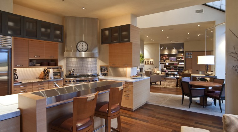 Contemporary kitchen features pivoting benchtop, bright pantry & countertop, cuisine classique, interior design, kitchen, real estate, brown