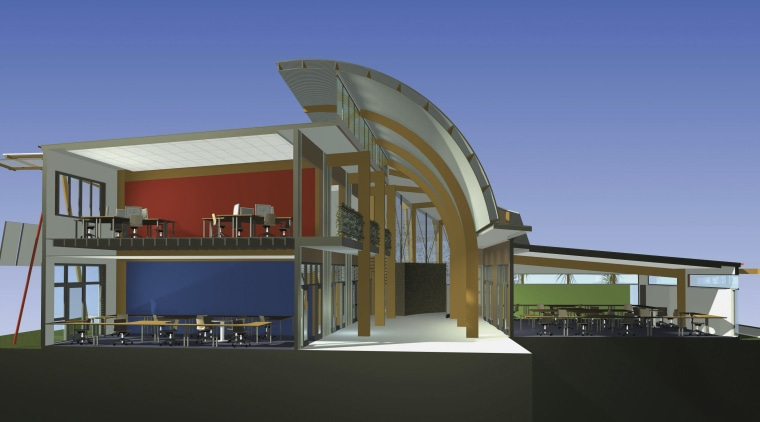 Conceptual drawing of a clean energy cemtre which architecture, building, elevation, home, house, sky, blue, black