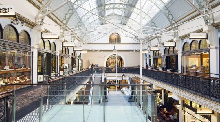 The Queen Victoria Building in Sydney has undergone building, daylighting, leisure, leisure centre, shopping mall, swimming pool, white, gray