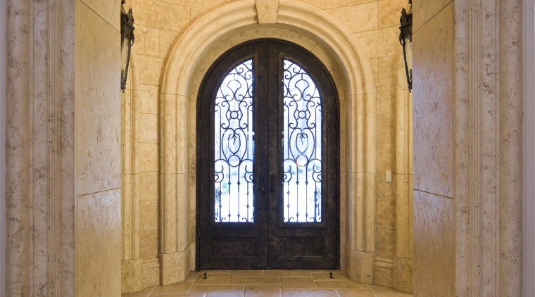 Castle Entries was contracted to provide a wrought arcade, arch, building, chapel, column, crypt, door, estate, interior design, place of worship, symmetry, window, brown, orange