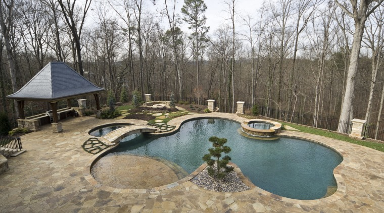 View of a Neptune Pool. backyard, estate, home, landscape, outdoor structure, property, real estate, swimming pool, tree, yard