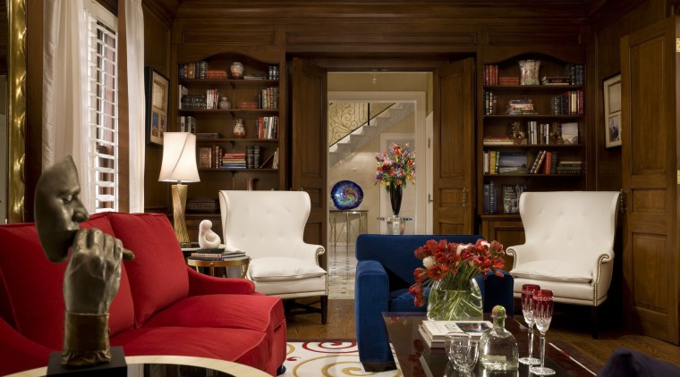 View of living area with furniture couch, furniture, home, interior design, living room, room, red, brown