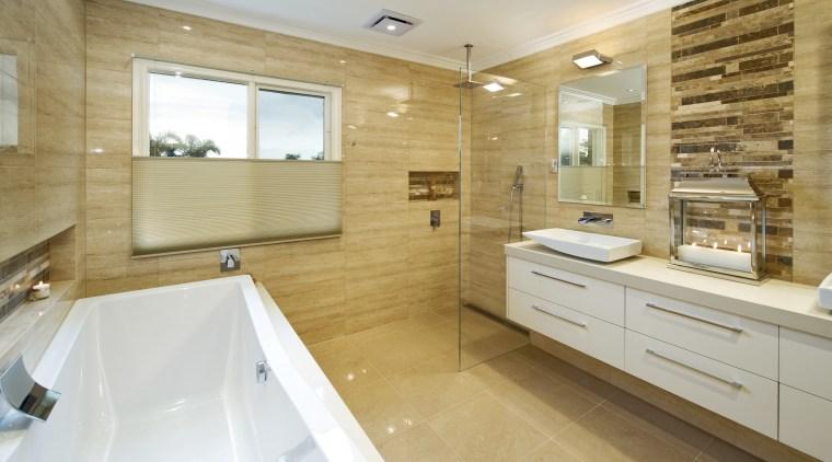 Natural colours dominate this bathroom with open shower bathroom, estate, floor, flooring, home, interior design, property, real estate, room, tile, orange, gray