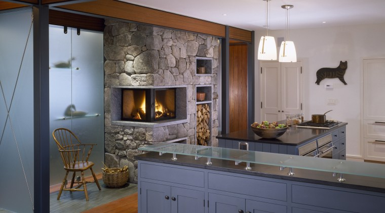 View of kitchen designed by Elliot + Elliot cabinetry, ceiling, countertop, cuisine classique, home appliance, interior design, kitchen, room, gray