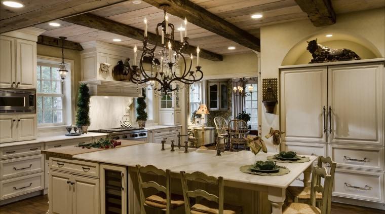 View of kitchen designed by Drury Design Kitchen cabinetry, countertop, cuisine classique, interior design, kitchen, room, brown