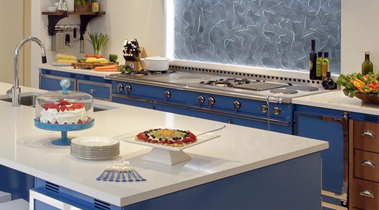 View of kitchen designed by Bon Marche Interiors countertop, interior design, kitchen, room, gray, blue