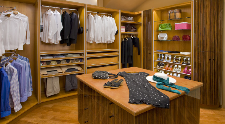 View of closet cabinetry designed and built by boutique, closet, furniture, interior design, room, brown
