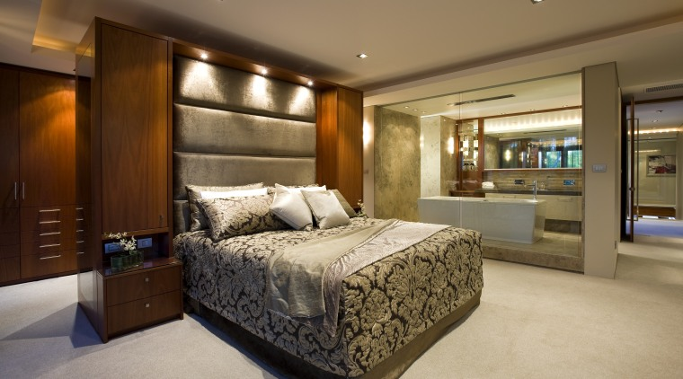 View of contemporary bedroom and bathroom divided by bed frame, bedroom, ceiling, estate, home, interior design, real estate, room, suite, brown, orange