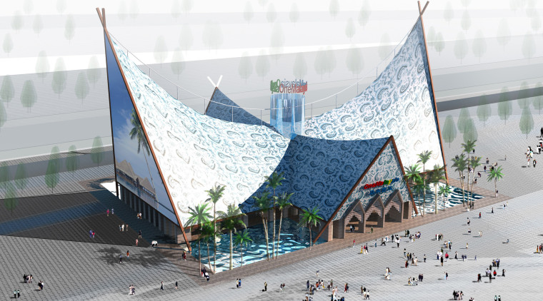Conceptual view of the Malaysia pavilion which is tourism, white