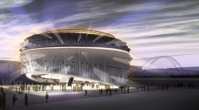 Conceptual view of the exterior of the Singapore architecture, building, convention center, opera house, performing arts center, sky, sport venue, structure, gray, black
