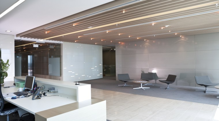 Interior view of the Deloitte office reception area architecture, ceiling, daylighting, interior design, lobby, office, gray, white
