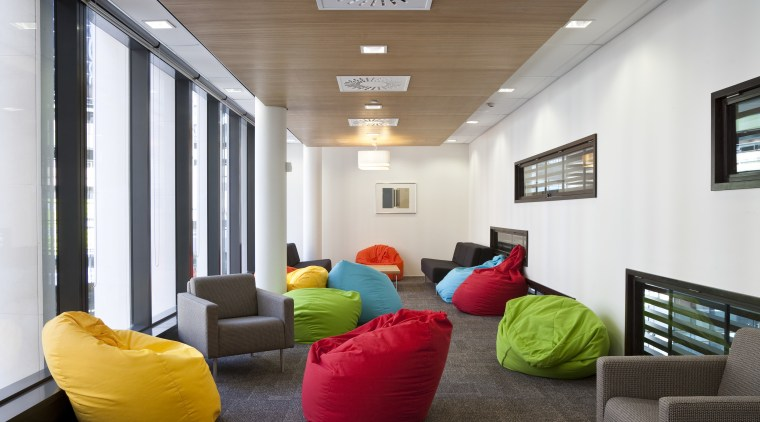 The offices of BNZ feature a combination of architecture, ceiling, house, interior design, living room, real estate, white