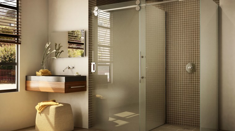 View of a bathroom which features shower enclosures bathroom, interior design, plumbing fixture, brown