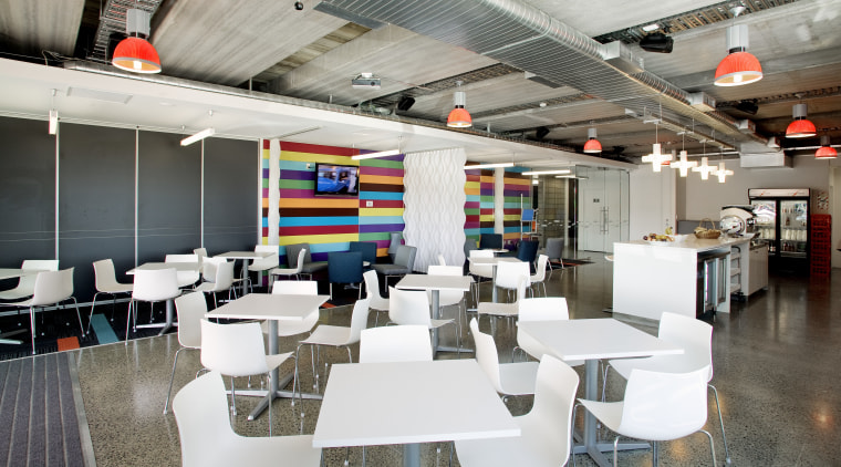 Interior view of the Express Data offices which interior design, restaurant, white, gray