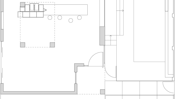 Architectural view of this modern kitchen angle, architecture, area, black and white, design, diagram, drawing, floor plan, font, line, plan, product, product design, structure, text, white, white