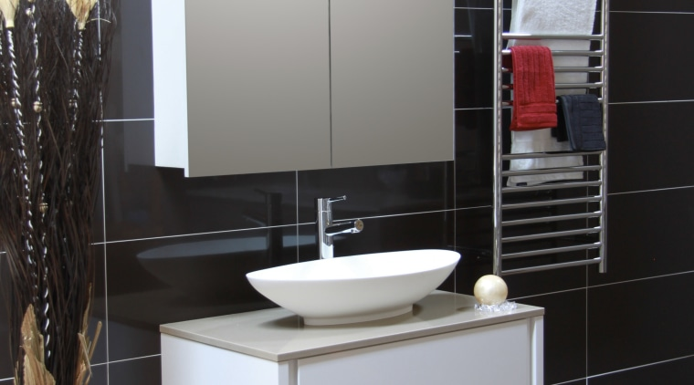 Overview of bathroom, accessories and vanity bathroom, bathroom accessory, bathroom cabinet, floor, flooring, furniture, interior design, product design, sink, black, gray