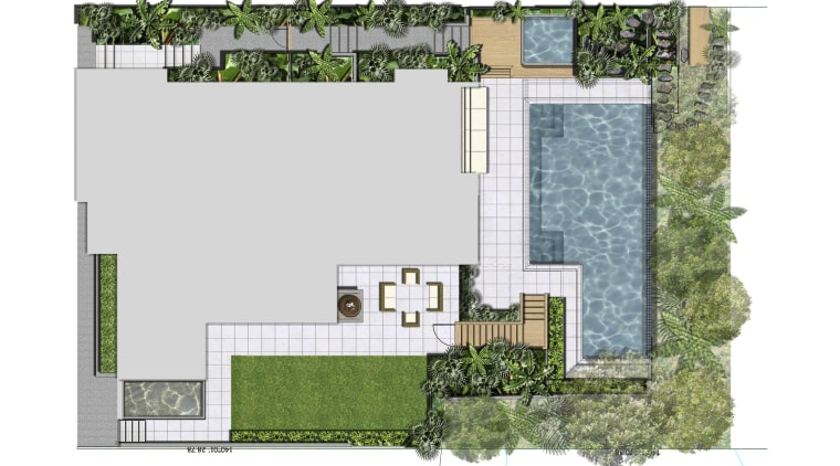 View of sleek poolscape with textured stone wall, architecture, area, elevation, facade, floor plan, home, house, land lot, plan, real estate, residential area, urban design, white