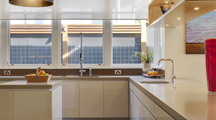 View of kitchen designed bt Nicholas Murray Architects cabinetry, ceiling, countertop, cuisine classique, floor, hardwood, interior design, kitchen, real estate, room, gray, brown