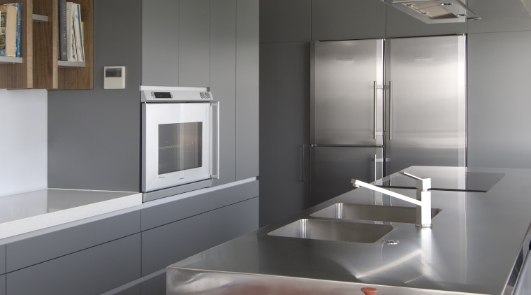 Interior view of modern kitchen architecture, countertop, home appliance, interior design, interior designer, kitchen, product design, gray