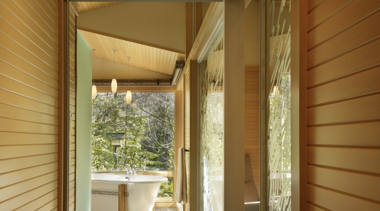 t FRIEND bath1 architecture, ceiling, daylighting, door, estate, home, house, interior design, lighting, lobby, real estate, window, wood, brown