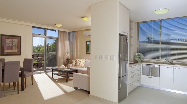 View of kitchen at the St Peter's Green apartment, floor, interior design, property, real estate, gray