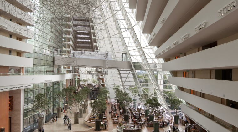 Marina Bay Sands, Singapore architecture, building, ceiling, daylighting, interior design, lobby, mixed use, shopping mall, gray, brown