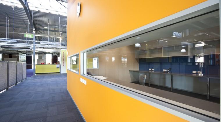 Interior view of this modern office architecture, interior design, leisure centre, metropolitan area, orange