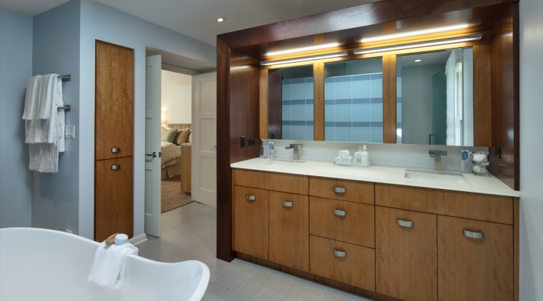 View of bathroom which features a vanity with bathroom, bathroom accessory, bathroom cabinet, cabinetry, interior design, room, gray, brown
