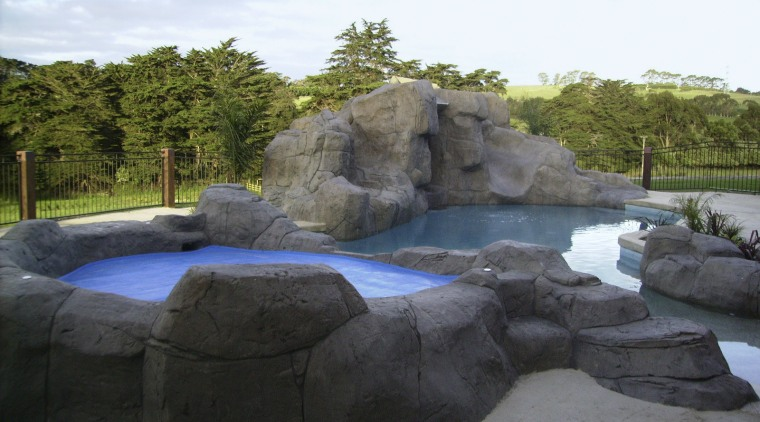 Natural looking pool & spa area landscape, pond, rock, swimming pool, water, water feature, water resources, watercourse, black, white