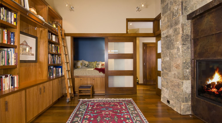View of this traditional remodeled library space ceiling, estate, floor, flooring, hardwood, home, interior design, living room, real estate, room, wall, wood, brown, orange