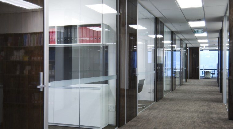 Interior view of the office main hallway ceiling, floor, flooring, glass, interior design, lobby, office, wall, gray, black
