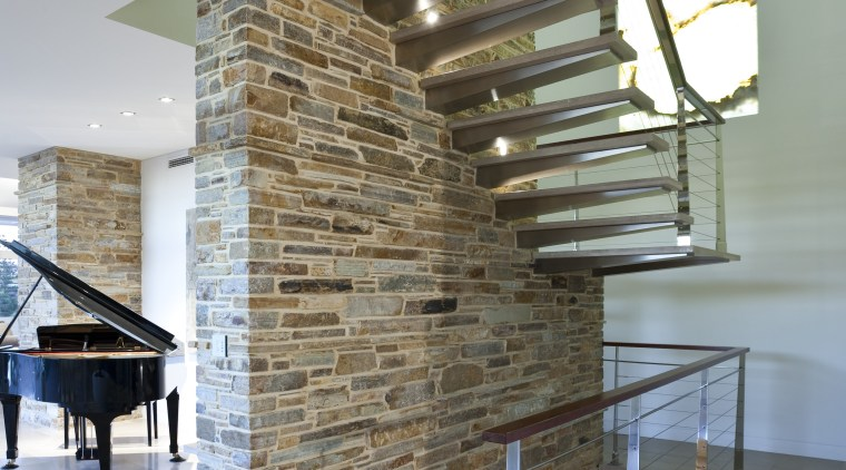 View of house with stone walls, walnut panelling architecture, interior design, wall, wood, gray