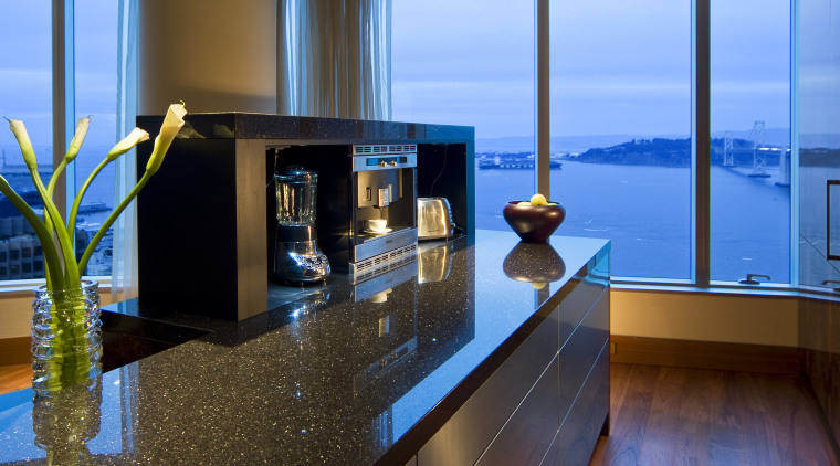 Interior view of this modern remodeled home apartment, interior design, real estate, water, teal