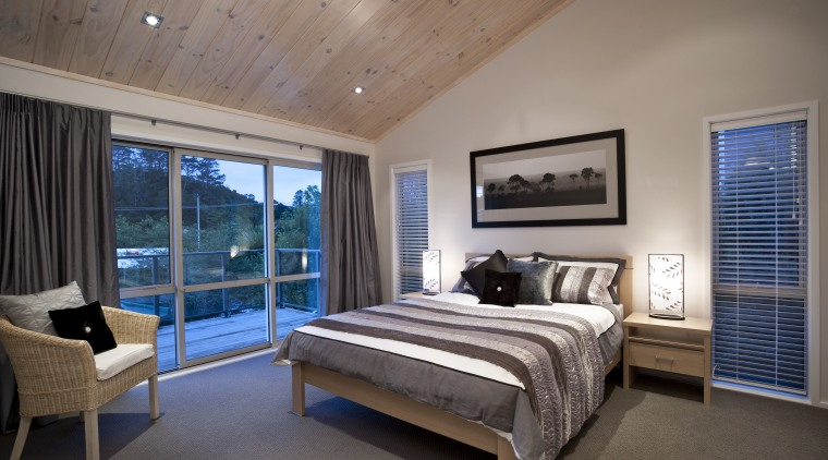 Interior view of this contemporary home bedroom bed frame, bedroom, ceiling, estate, home, interior design, real estate, room, window, wood, gray