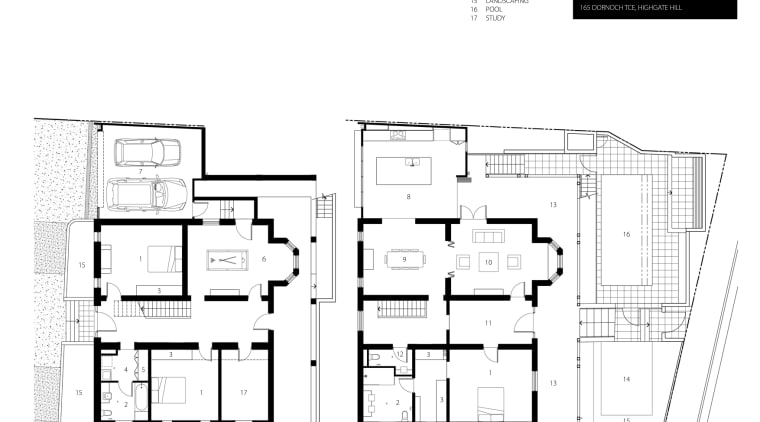 View of architectural plans for contemporary townhouses. architecture, area, black and white, design, diagram, drawing, elevation, floor plan, font, line, plan, product design, schematic, structure, text, white