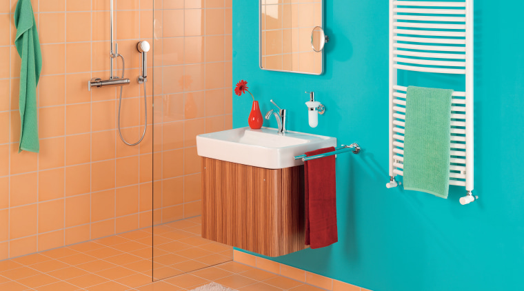 View of bathroomware by Zehnder America bathroom, bathroom accessory, bathroom cabinet, floor, flooring, interior design, plumbing fixture, product, product design, room, tile, wall, orange, teal, gray