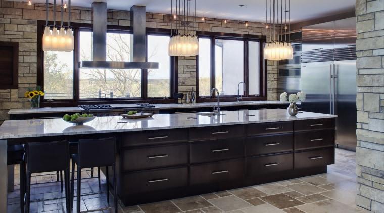 View of a kitchen designed by Drury Design cabinetry, countertop, cuisine classique, floor, flooring, interior design, kitchen, room, gray, black